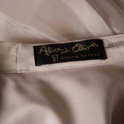 Alice + Olivia Beige Silk Organza Gathered Abella Ballgown Skirt S