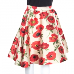 Alice + Olivia Red Falling Poppy Patterned Earla Circle Skirt S