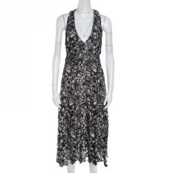 Alice + Olivia Monochrome Floral Lace Cut Out Detail Noreen Halter Dress M