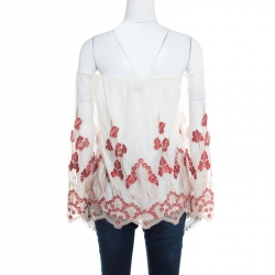 Alice + Olivia White and Red Floral Embroidered Tulle Off Shoulder Priya Top S