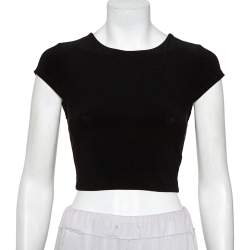 Alice + Olivia Black Knit Back Open Detail Short Sleeve Crop Top XS