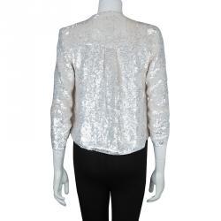 Alice + Olivia White All Over Sequin Embellished Jacket XS