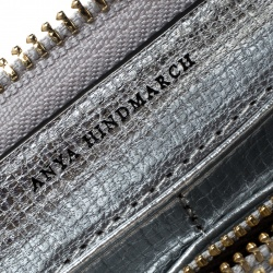 Anya Hindmarch Silver Leather All Over Wink Stickers Zip Around Wallet