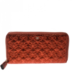 7ab22e030322 Anya Hindmarch Metallic Orange Leather Large Wilkes Zip Around Wallet