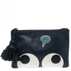 76fa9cc93bc0 Anya Hindmarch Navy Blue Leather Georgiana Big Eyes Clutch
