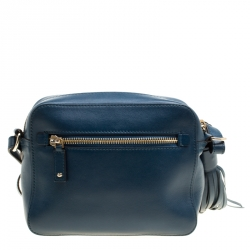 Anya Hindmarch Blue Leather Smiley Crossbody Bag