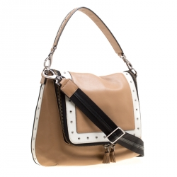 Anya Hindmarch Beige/White Leather Vere Studded Top Handle Bag