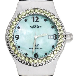 AquaMarin Green Mother of Pearl Stainless Steel Sea Star Women's Wristwatch 37 mm