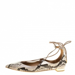 Aquazzura Two Tone Snake Embossed Leather Christy Lace Up Pointed Toe Flats Size 38