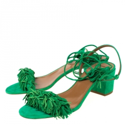 Aquazzura Green Fringed Suede Wild Thing Ankle Wrap Block Heel Sandals Size 39