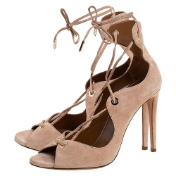 Aquazzura Beige Suede Tango Curvy Lace Up Sandals Size 37.5