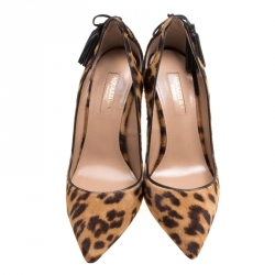 Aquazzura Brown Leopard Print Calf Hair Forever Marilyn Pointed Toe Pumps Size 36.5