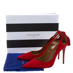 Aquazzura Red Suede Leather Forever Marilyn 85 Cut Out Tassel Detail Pointed Toe Pumps Size 41