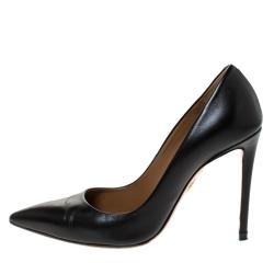 Aquazzura Black Leather Pointed Toe Pumps Size 35.5