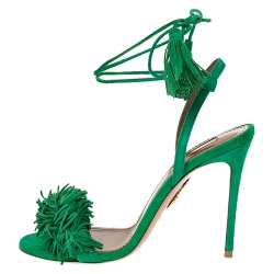 Aquazzura Green Suede Leather Wild Thing Fringe Ankle Wrap Sandals Size 36