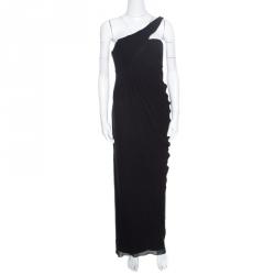bcd46ed457cc0 فستان سهرة أرماني كوليزيوني حرير أسود بديرابيه وكتف واحد M