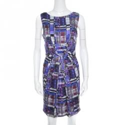 62bb33128 Armani Collezioni Multicolor Printed Silk Pleated Sleeveless Dress M