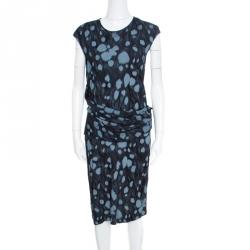 7f1625812674d فستان أرماني كوليزيوني جيرسيه أسود مطبوع بديرابيه خصر مزين بلا أكمام XL