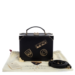 Aspinal of London Black Leather Mini Trunk Patches Top Handle Bag