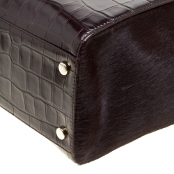 Aspinal of London Dark Brown Croc Embossed Leather Marylebone Top Handle Bag