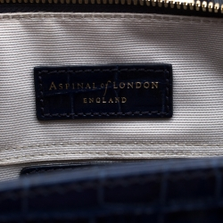 Aspinal of London Blue Croc Embossed Leather Marylebone Top Handle Bag