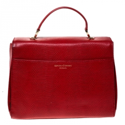 Aspinal Of London Red Lizard Embossed Leather Mayfair Top Handle Bag