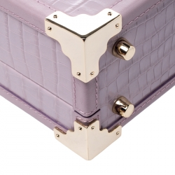 Aspinal Of London Lilac Croc Embossed Leather Trunk Top Handle Bag