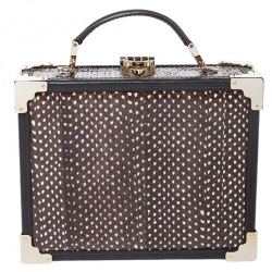 Aspinal Of London Brown/White Snakeskin Effect Leather Trunk Top Handle Bag
