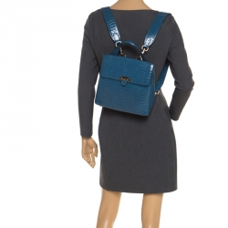 Aspinal of London Blue Croc Embosed Leather Soho Backpack