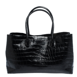 Aspinal Of London Black Croc Embossed Leather The London Tote