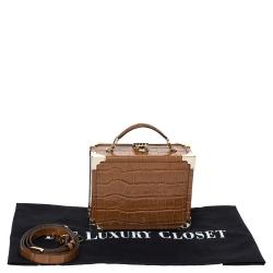 Aspinal of London Tan Croc Embossed Leather Mini Trunk Top Handle Bag