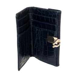 Aspinal Of London Blue Crocodile Embossed Leather Bifold Wallet