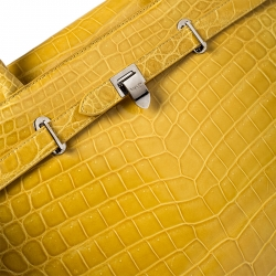 Asprey Yellow Crocodile Leather Darcy Tote