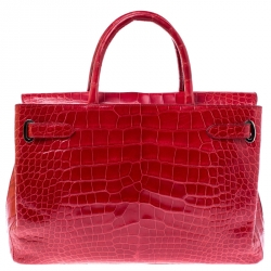 Asprey Red Alligator Leather Darcy Tote