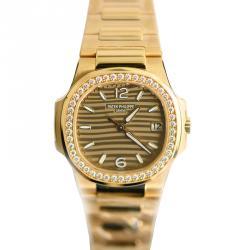 Patek Philippe Gold Tone Dial 18K Rose Gold Diamond Bezel Nautilus  Women's Watch 32MM