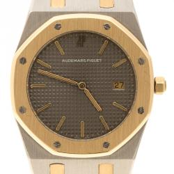 Audemars Piguet Grey Stainless Steel and 18K Rose Gold Royal Oak Women's Wristwatch 33 mm