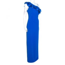 Badgley Mischka Blue Crepe Ruffle Detail One Shoulder Evening Gown S