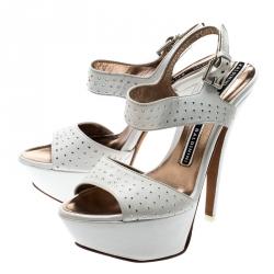 Baldinini White Crystal Embellished Leather Ankle Strap Platform Sandals Size 37