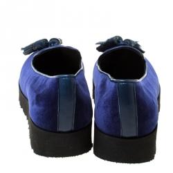 Baldinini Blue Velvet Tassel Platform Loafers Size 36