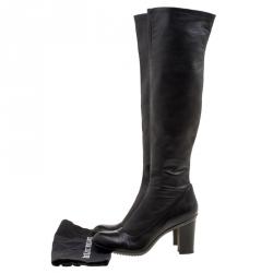 Baldinini Black Leather Knee High Boots Size 41