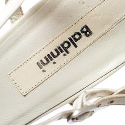 Baldinini White Leather Ankle Strap Sandals Size 39