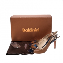 Baldinini Brown Leather Buckle Peep Toe Slingback Pumps Size 36