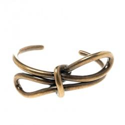 Balenciaga Bow Boucle Gold Tone Open Cuff Bracelet Size M