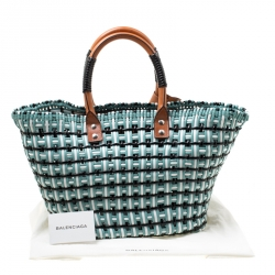 Balenciaga Multicolor Woven PVC and Leather Bistrot Cabas Rond Tote