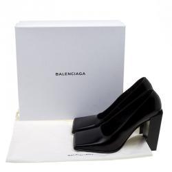 Balenciaga Black Leather Quadro Square Toe Block Heel Pumps Size 38