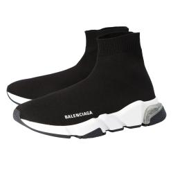 Balenciaga Black Knit Speed Clear Sole Sneakers Size 38