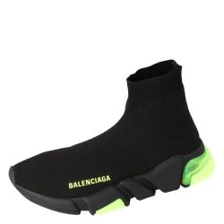 Balenciaga Black Knit Speed Clear Sole Sneakers Size 34