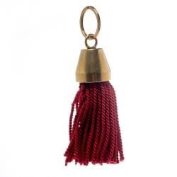 Balenciaga Red Hotel Fringe Gold Tone Bell Key Ring