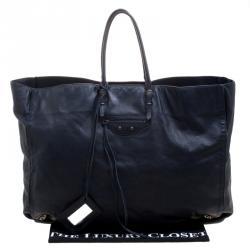 Balenciaga Dark Blue Leather Papier A3 Tote