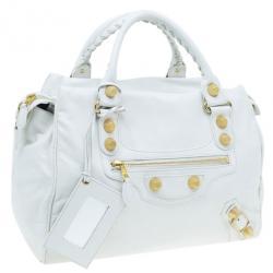 Balenciaga White Leather Giant Midday Bag